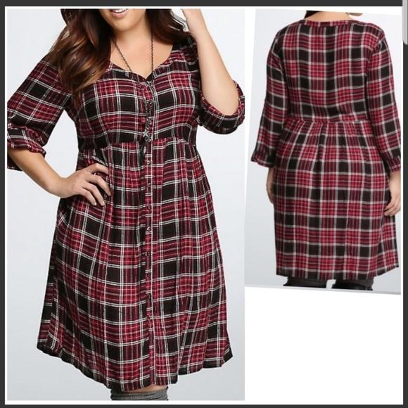 Torrid Plaid Shirtdress Plus Size 🆕️ V neck Boutique